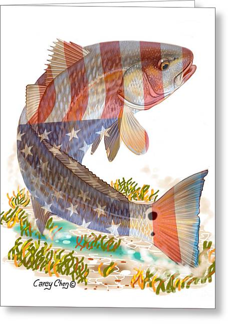 Redfish, White And Blue Greeting Card by Carey Chen