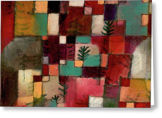 Redgreen And Violet-yellow Rhythms Greeting Card by Paul Klee