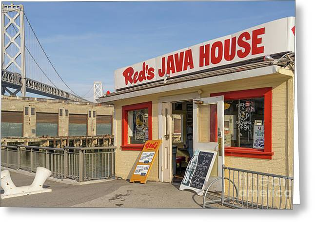 Reds Java House And The Bay Bridge At San Francisco Embarcadero Dsc5761 Greeting Card