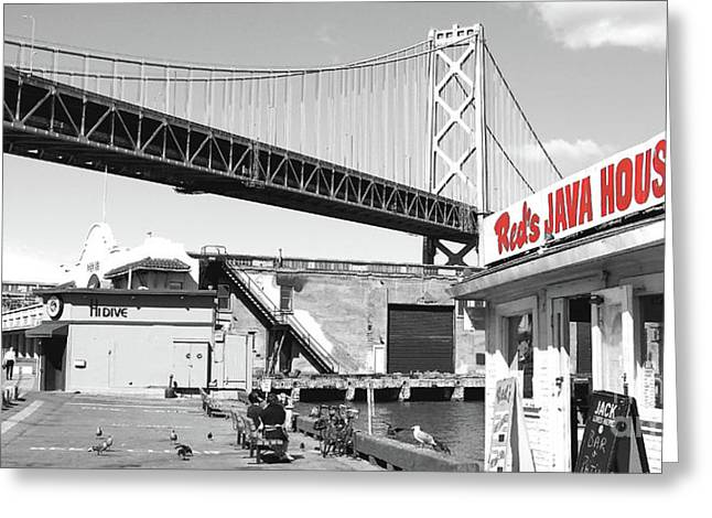 Reds Java House And The Bay Bridge In San Francisco Embarcadero Black And White And Red Panoramic Greeting Card by Wingsdomain Art and Photography