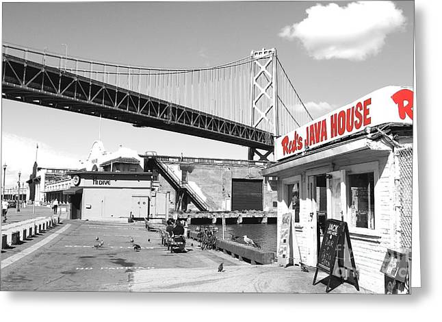 Bay Bridge Greeting Cards - Reds Java House and The Bay Bridge in San Francisco Embarcadero . Black and White and Red Greeting Card by Wingsdomain Art and Photography