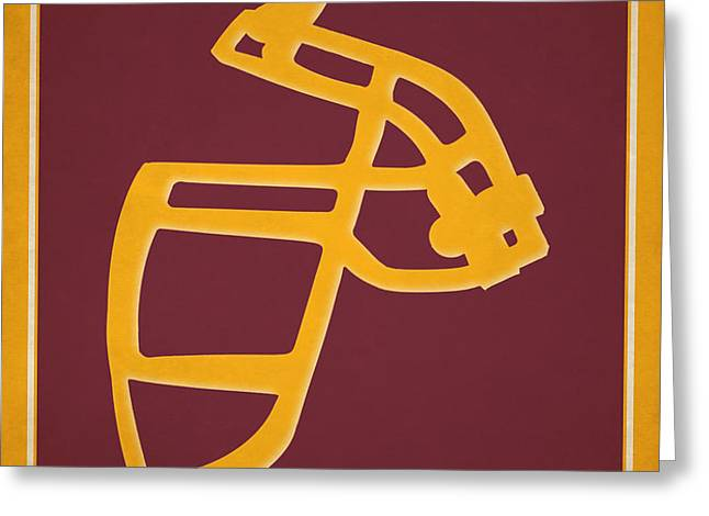 Redskins Face Mask Greeting Card by Joe Hamilton
