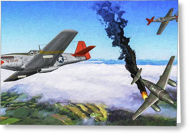 Redtails Swallow Encounter - Oil Greeting Card by Tommy Anderson