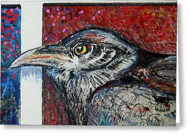 Red,white ,blue Greeting Card by Susan Brown    Slizys art signature name