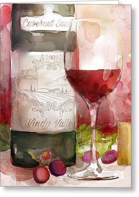 Redwinewatercolor Greeting Card by Mauro DeVereaux