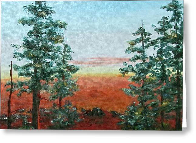 Redwood Overlook Greeting Card by Roseann Gilmore
