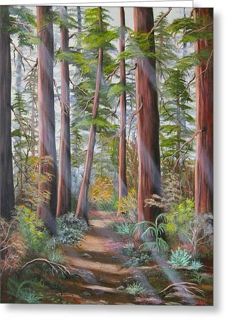 Greeting Card featuring the painting Redwood Path by Joni McPherson