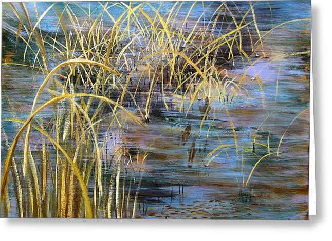 Reeds In The Water Greeting Card by Art Nomad Sandra  Hansen