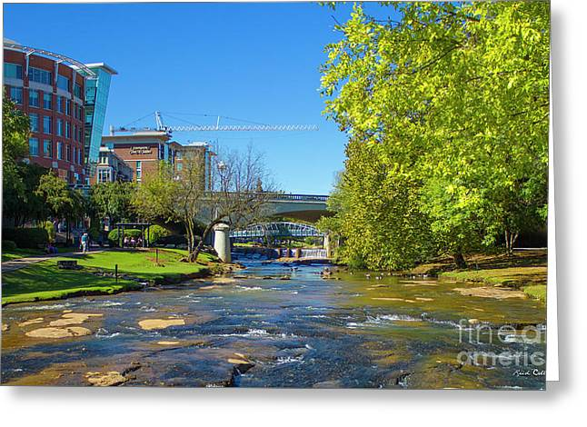 Reedy River Falls Flows On Greenville Sc Greeting Card