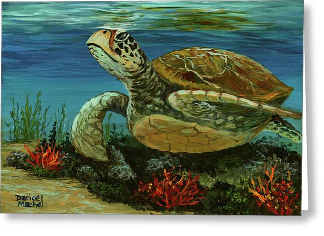 Greeting Card featuring the painting Reef Honu by Darice Machel McGuire