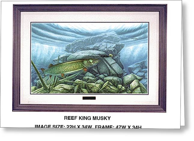 Reef King Musky Greeting Card by Jon Q Wright