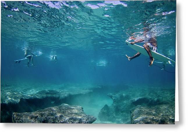 Reef Surfers Greeting Card