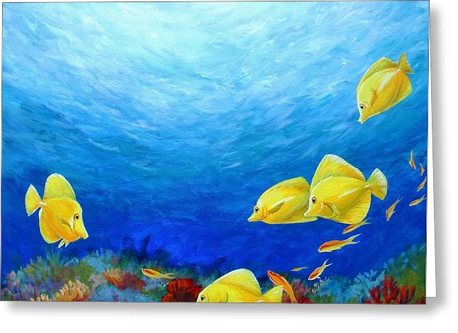 Reef With Yellow Tangs Greeting Card