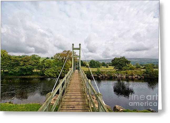 Reeth Swing Bridge Greeting Card by Nichola Denny