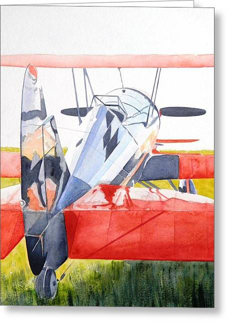 Reflection On Biplane Greeting Card