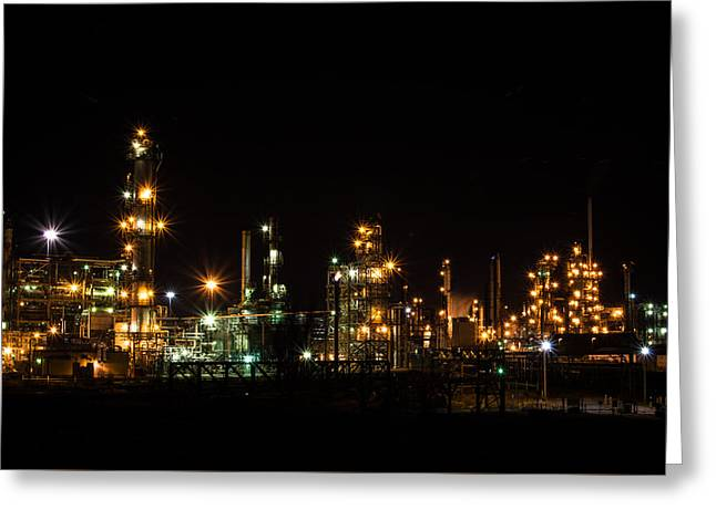 Refinery At Night 2 Greeting Card