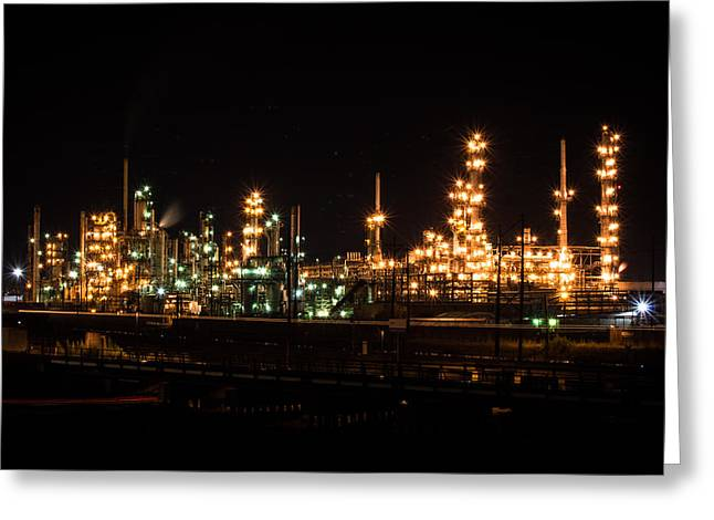 Refinery At Night 3 Greeting Card