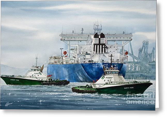 Refinery Tanker Escort Greeting Card by James Williamson