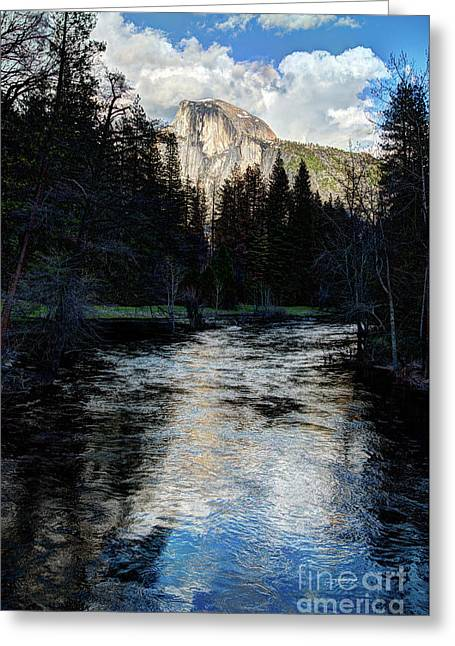 Reflectance Of Half Dome In Yosemite Greeting Card by Terry Garvin