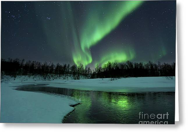 Reflections Of Sky In Water Greeting Cards - Reflected Aurora Over A Frozen Laksa Greeting Card by Arild Heitmann