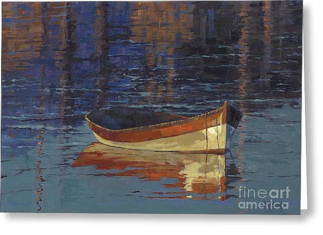 Sold Reflecting At Day's End Greeting Card by Nancy  Parsons