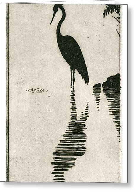 Drypoint Greeting Cards - Reflecting Greeting Card by Charles Harden