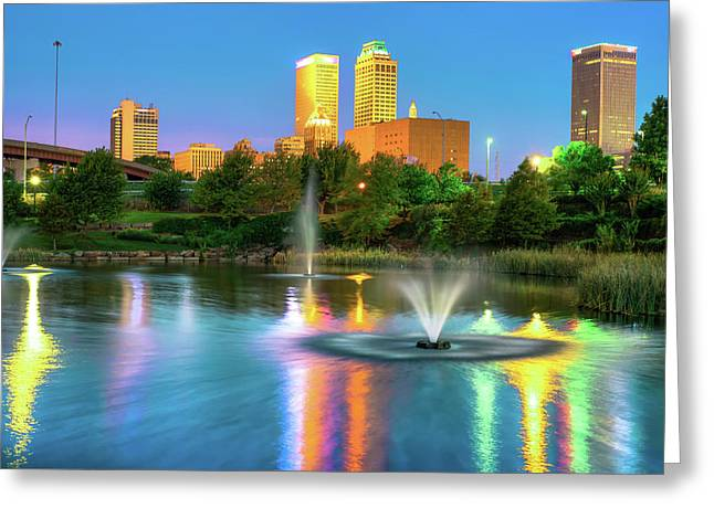 Reflecting Lights Of The Tulsa Skyline Greeting Card by Gregory Ballos