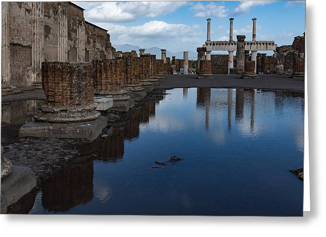 Reflecting On Ancient Pompeii - The Giant Rain Puddle View Greeting Card