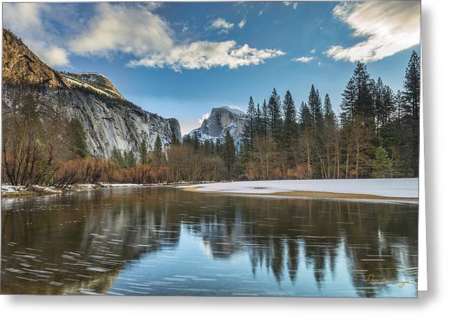 Reflecting On Half Dome Greeting Card