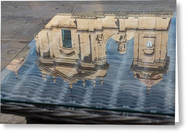Reflecting On Noto Cathedral Saint Nicholas Of Myra - Sicily Italy Greeting Card