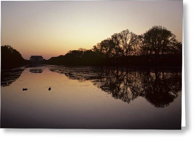 Reflecting Pool And Lincoln Memorial Greeting Card by Kenneth Garrett