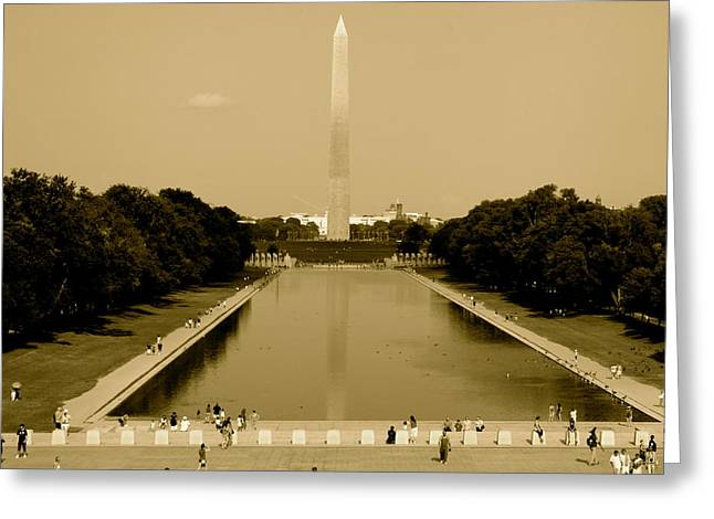 Reflecting Pool Of The Washington Monument Greeting Card by Aimee Galicia Torres