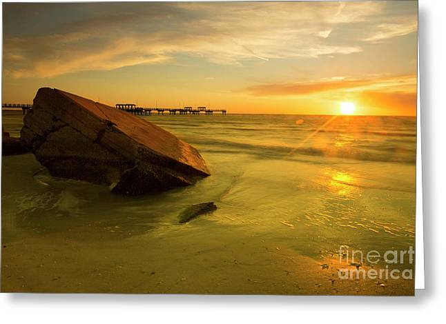 Reflecting Stone At Sunset, Long Exposure Greeting Card by Felix Lai