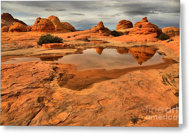 Reflecting The Buttes Greeting Card by Adam Jewell