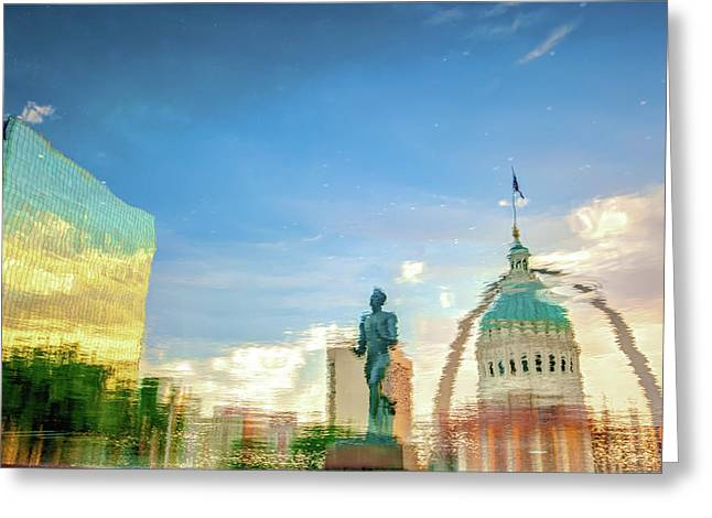Reflecting The Lou - A Saint Louis Skyline Waterscape Photograph Greeting Card by Gregory Ballos