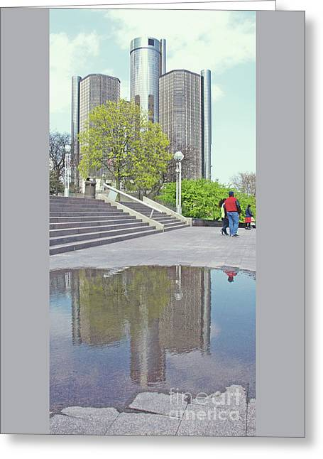 Reflecting The Ren Cen Greeting Card