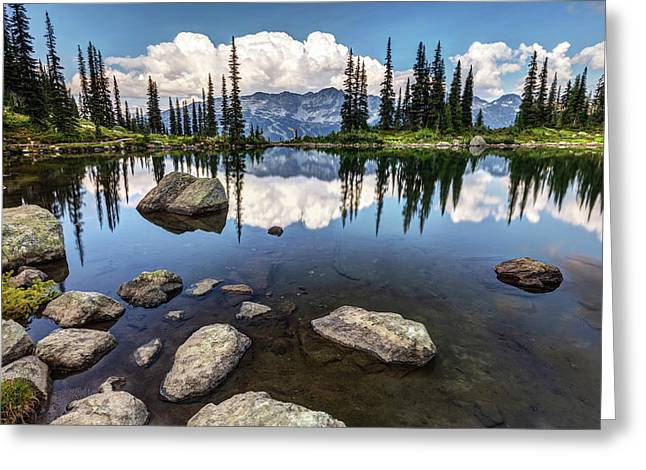 Greeting Card featuring the photograph Reflection At Harmony Lake On Whistler Mountain by Pierre Leclerc Photography