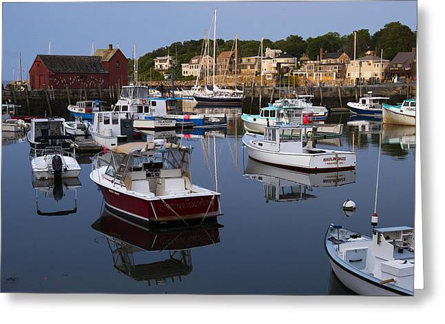 Reflection At Rockport Harbor Greeting Card