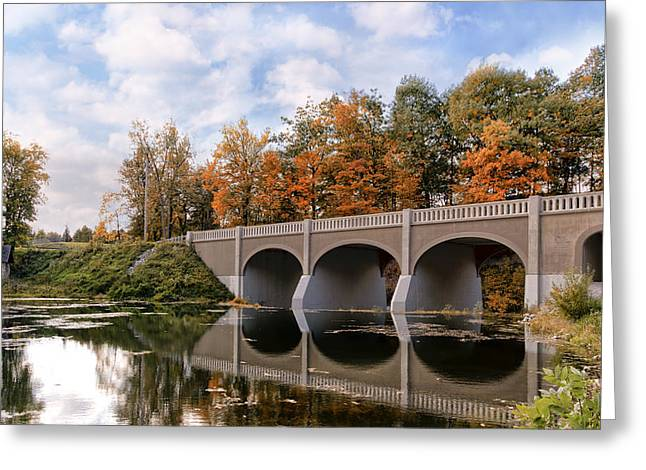 Reflection Bridge Greeting Card by Peter Chilelli