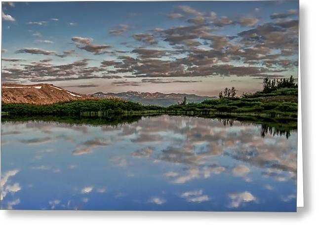 Greeting Card featuring the photograph Reflection In A Mountain Pond by Don Schwartz
