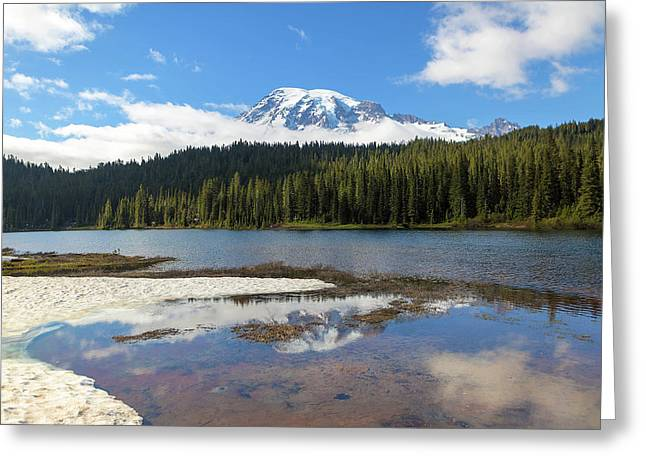 Reflection Lakes In Mount Rainier National Park Greeting Card