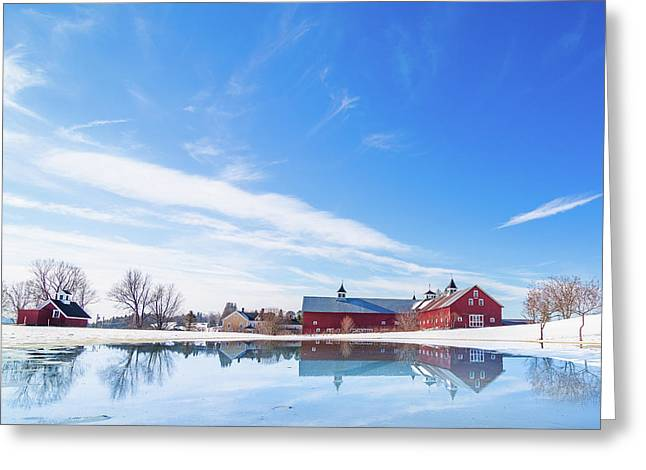 Reflection Of A Barn In Winter Greeting Card