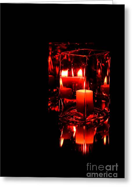 Reflection Of A Candle Greeting Card by Robin Lynne Schwind