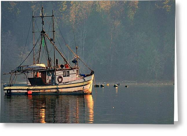 Reflections Of A Nautical Timepiece Greeting Card by Sher Falls