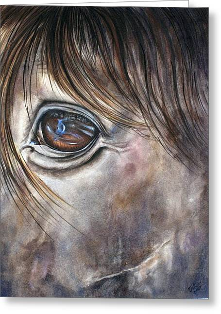 Greeting Card featuring the painting Reflection Of A Painted Pony by Mary McCullah