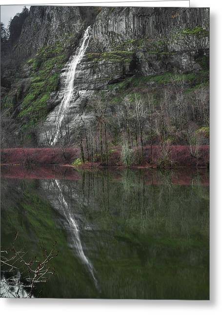 Reflection Of A Waterfall Greeting Card