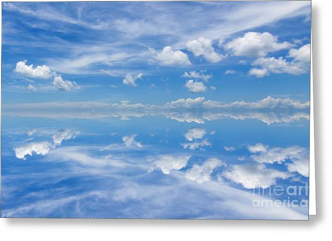 Reflection Of Beautiful Blue Sky With Clouds Greeting Card by Caio Caldas