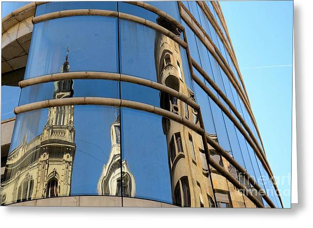 Reflection Of Cathedral On Modern Building Windows Belgrade Serbia Greeting Card by Imran Ahmed