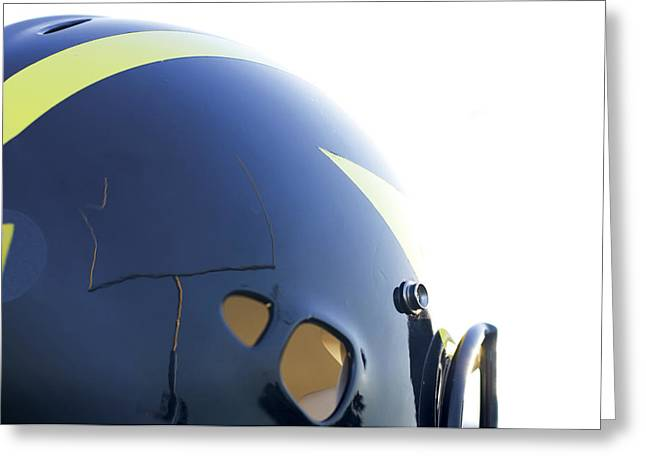 Reflection Of Goal Post In Wolverine Helmet Greeting Card