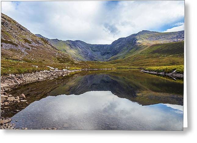 Greeting Card featuring the photograph Reflection Of Macgillycuddy's Reeks And Carrauntoohil In Lough E by Semmick Photo